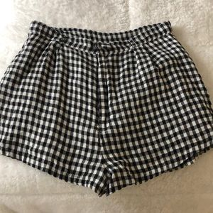 Lovers + friends black and white check shorts